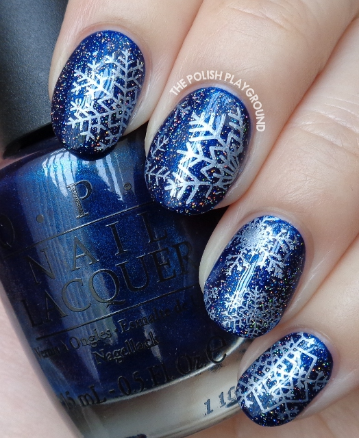 Dark Blue with White Snowflakes Stamping
