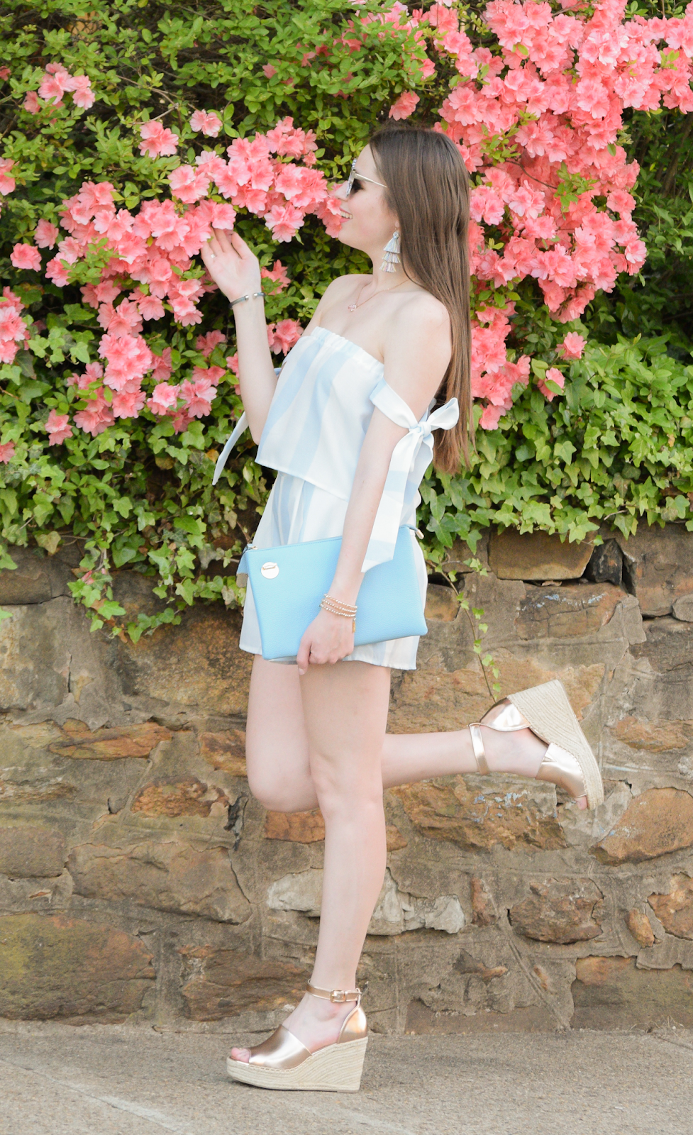 Blue and White Stripe Tropical Outfit