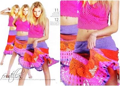 Patron falda y top multicolor estilo aires gitanos