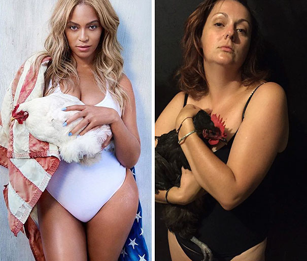 Woman Hilariously Recreates Celebrity Instagram Photos (Part 2) - Put Your Swimmers On. Get A Chicken. And Take A Photo
