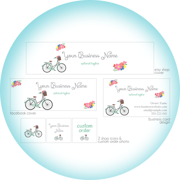 Cute Bicycle! Etsy banner package from Pixel Berry Pie Designs