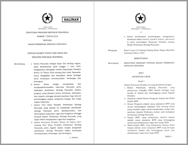 Perpres Nomor 7 Tahun 2018 Tentang Badan Pembinaan Ideologi Pancasila (BPIP)