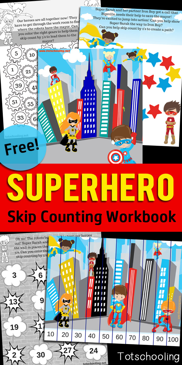 FREE worksheets for practicing skip counting with a Superhero theme! Skip count by 2's, 3's, 5's and 10's while helping the superheroes save the day!  A fun and motivating math workbook.
