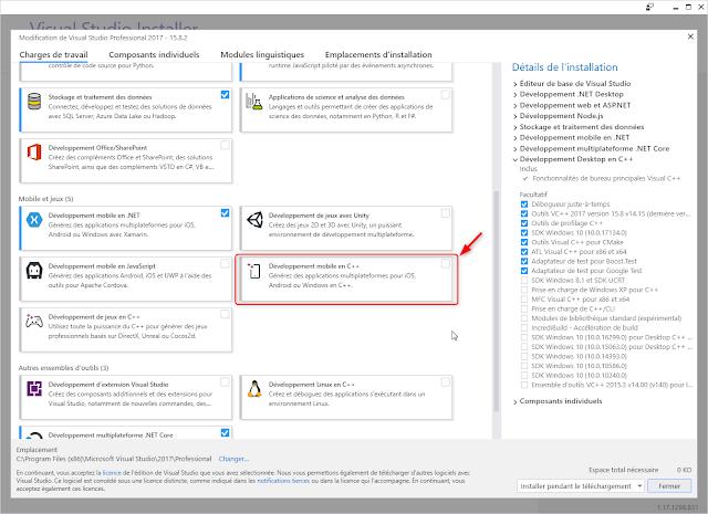 Développement mobile en C++ avec Visual Studio