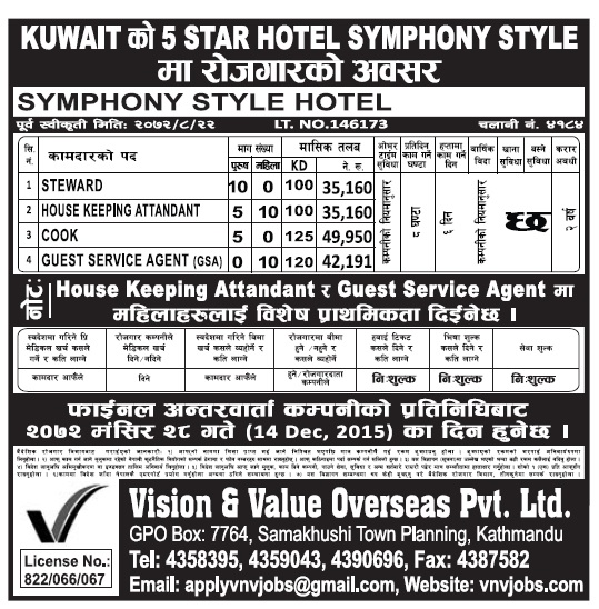 Jobs in Kuwait in 5 star Hotel, Salary Up to Rs 49,950