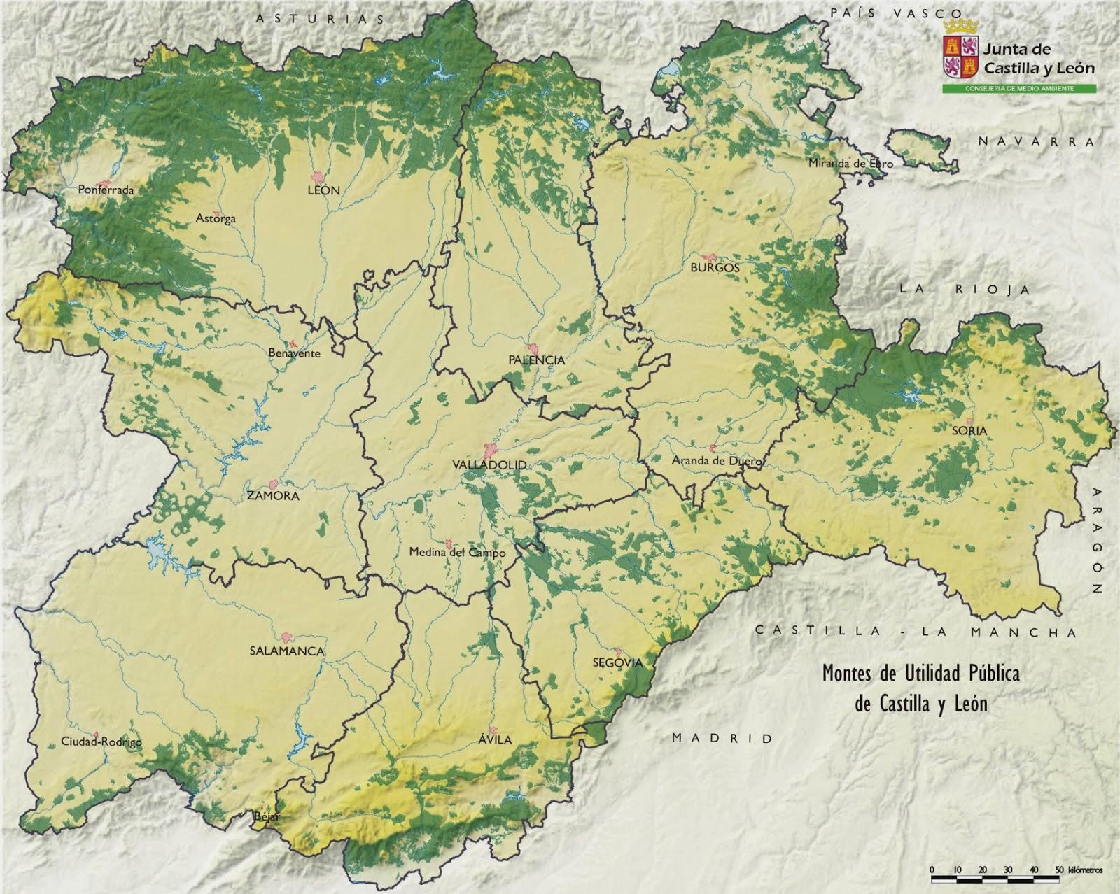 Montes De Leon Mapa.Educacion Forestal Montes Utilidad Publica Castilla Y Leon