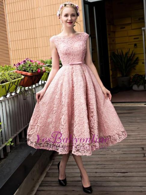 Glamorous Pink Beadings Lace-up Lace Tea Length A-Line Homecoming Dresses-Factory price: US $170.00