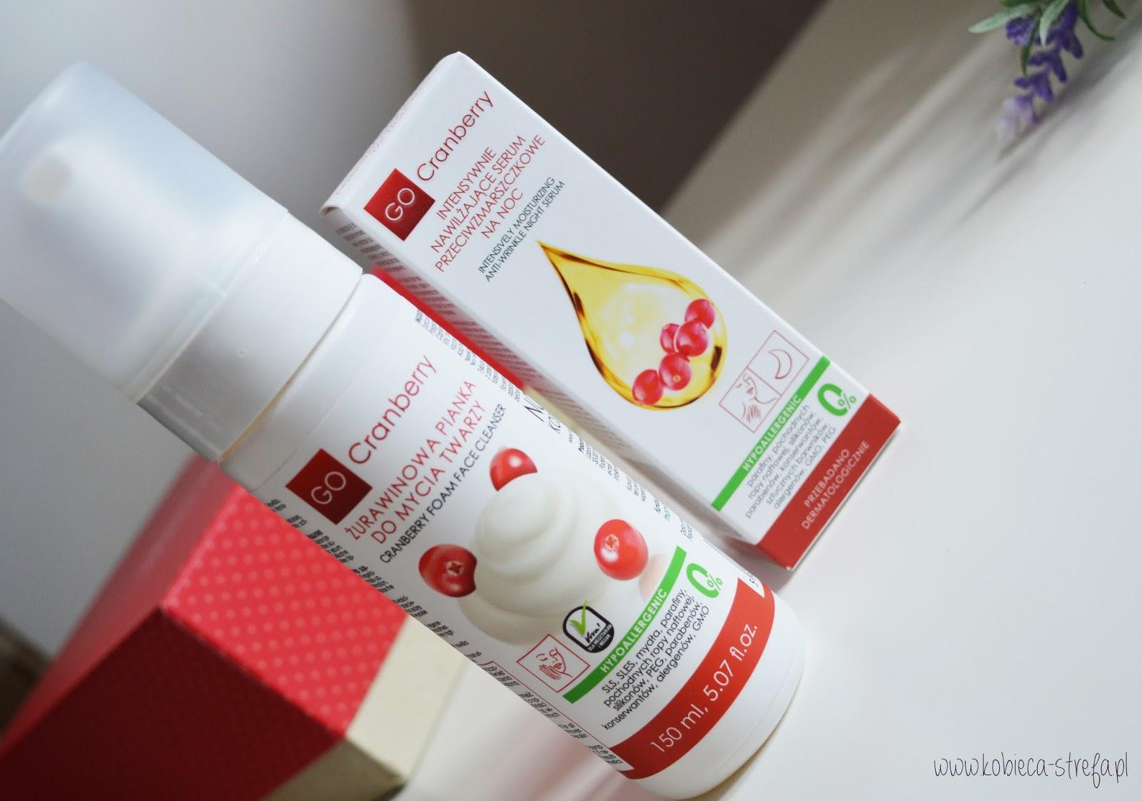 GoCranberry - żurawinowa pielęgnacja twarzy - pianka do mycia twarzy i serum przeciwzmarszczkowe na noc