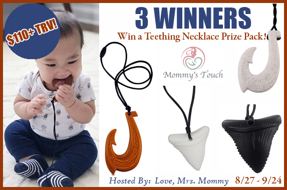 Three #win silicone necklaces from Mommy's Touch when this #Giveaway ends 9/24! $110 TRV! #Baby #Win #Winit #Winning #Sweeps #Sweepstake #Sweepstakes #Contest #ContestAlert #Competition #GiveawayAlert #Prize