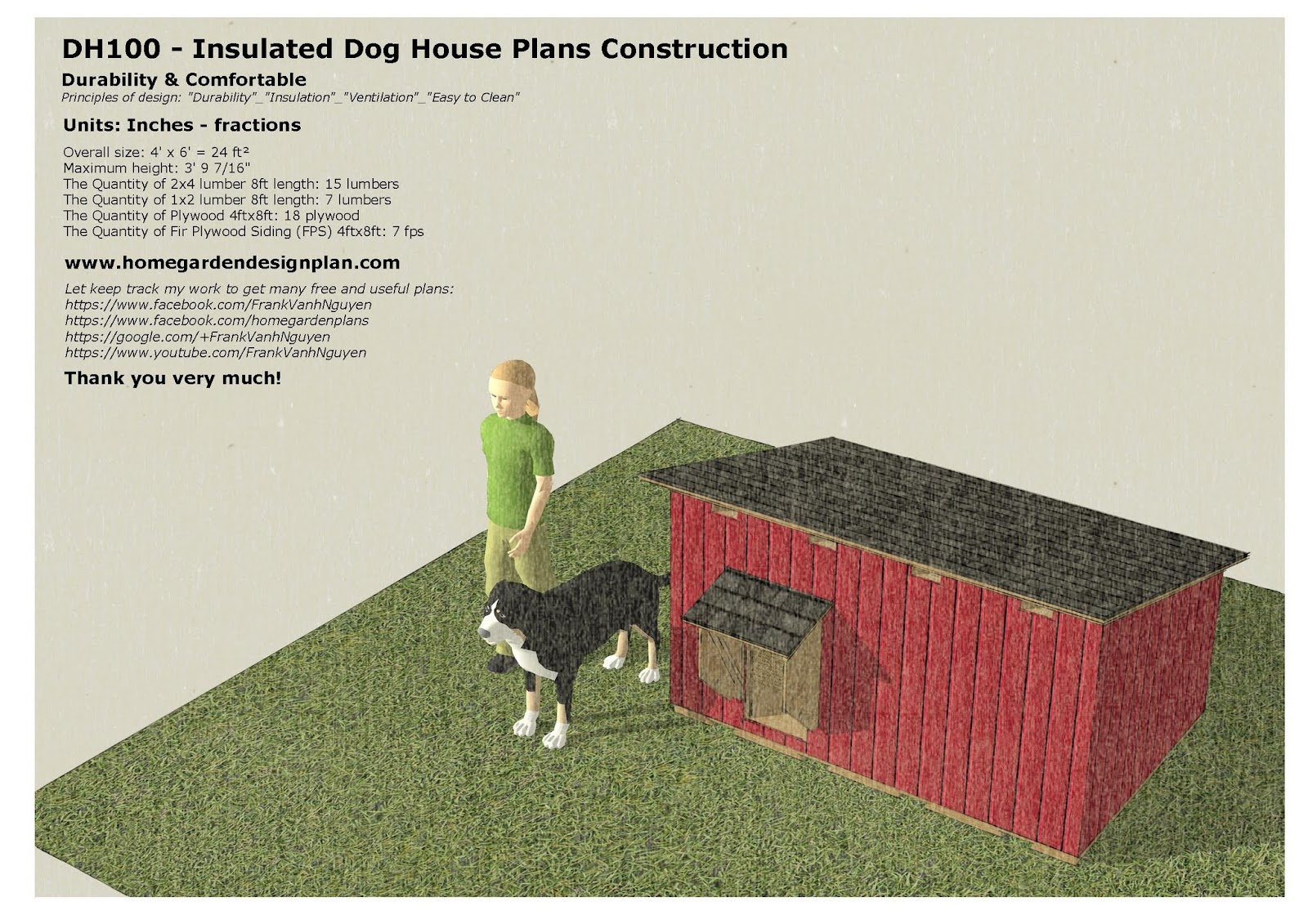 100 insulated dog house building plans dh300 insulated dog