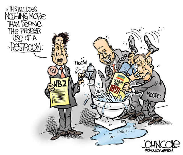 Governor McCrory (now out of office) and NC legislative leaders give LGBT North Carolinians a swirly in the toilet as McCrory says,