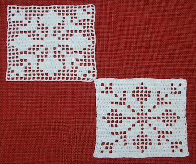 Filet Crochet Squares: Christmas patterns - Mattonelle Filet: schemi natalizi