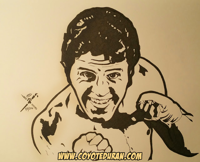 "Two-division boxing champion Bobby ""Schoolboy"" Chacon, ink on sketch paper by Coyote Duran, boxing art"