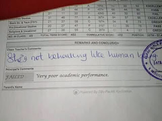 WHAT MANNER OF TEACHER'S COMMENT IS THIS