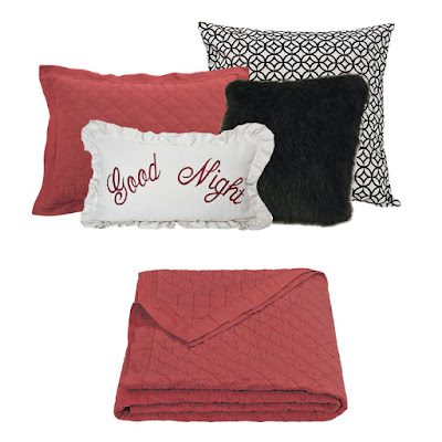 red diamond linen quilt and pillow sham, black mink faux fur pillow, Augusta Euro Sham, Good Night decoratve pillow from HiEnd Accents Bedding