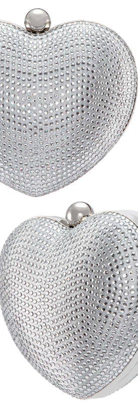 Nina Crystal Embellished Minaudière Silver