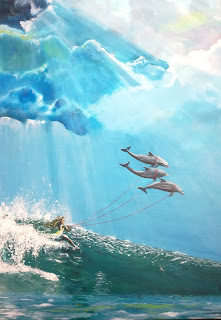 Kunst, art, moderne, contemporary, maleri, paintings, surf, blue, ocean, wind, skyes, fish, dolphins, speed, action, bottle, letter, flaskepost, delfiner,  Ayoe Lise Lysgaard Pløger art gallery,