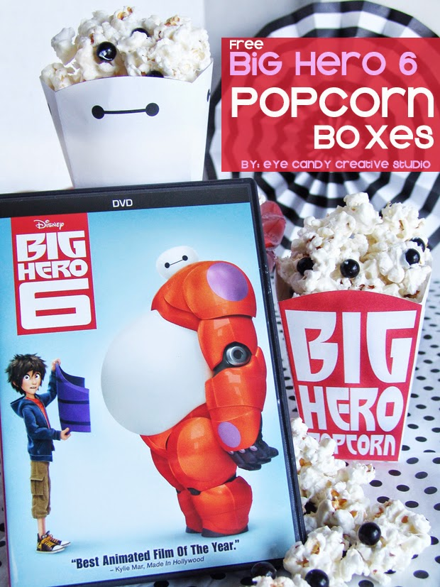 big hero 6 popcorn boxes, movie night idea, disney, big hero 6 movie night