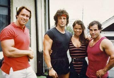 Arnold Schwarzenegger und Sylverster Stallone alte Promi Fotos
