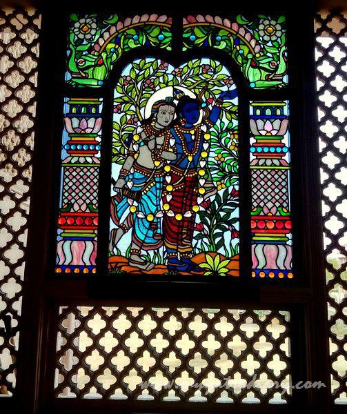 Krishna Balram stained glass window vedic art gallery - ISKCON Jaipur, Rajasthan