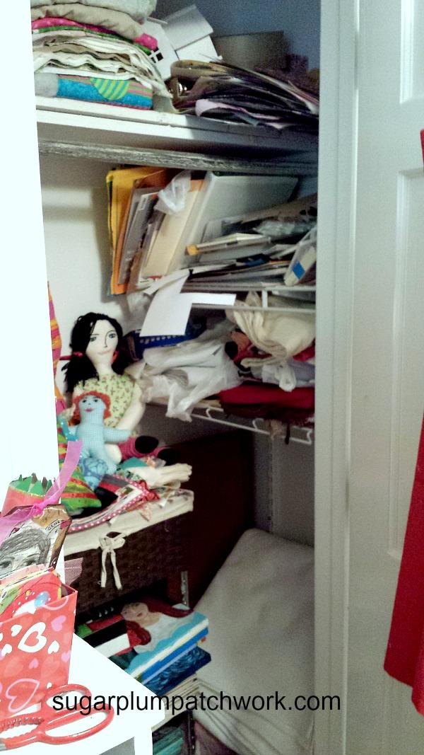 Messy craft room closet