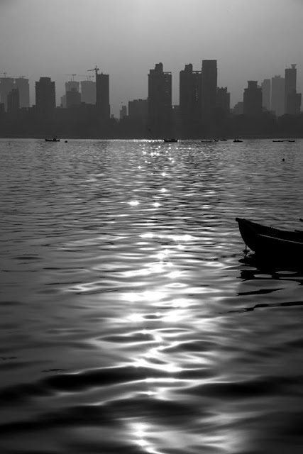 monochrome monday, black and white weekend, dadar skyline, arabian sea, boat, waves, worli. fort, killa, koliwada, mumbai, india,