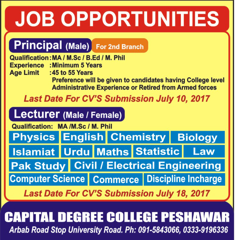 Jobs In Capital Degree College Peshawar  July 2017