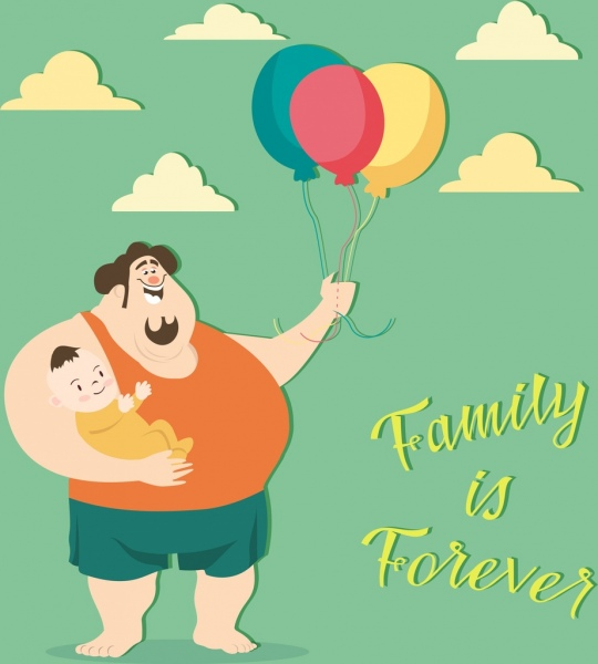 Family banner father kid balloon icons cartoon design for father's day Free vector