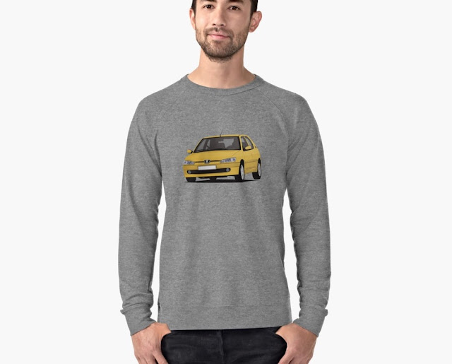 Yellow cornering Peugeot 306 GTi-6 on T-shirt