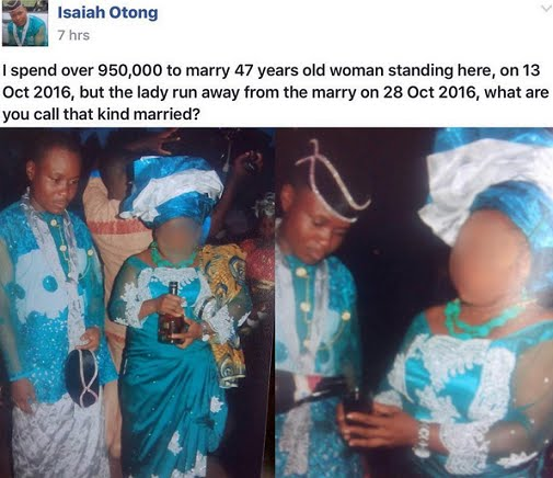Akwa Ibom guy claims he spent 950k to marry lady who disappeared after 2 months