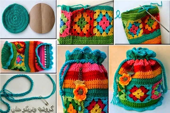 C mo hacer un bolso multicolor tejido al crochet - Como hacer bolsos tejidos ...
