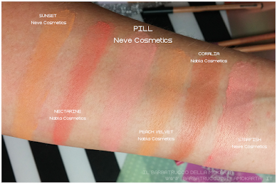 comparazioni swatches  PILL blush ombretto - Collezione Mutations -Neve cosmetics