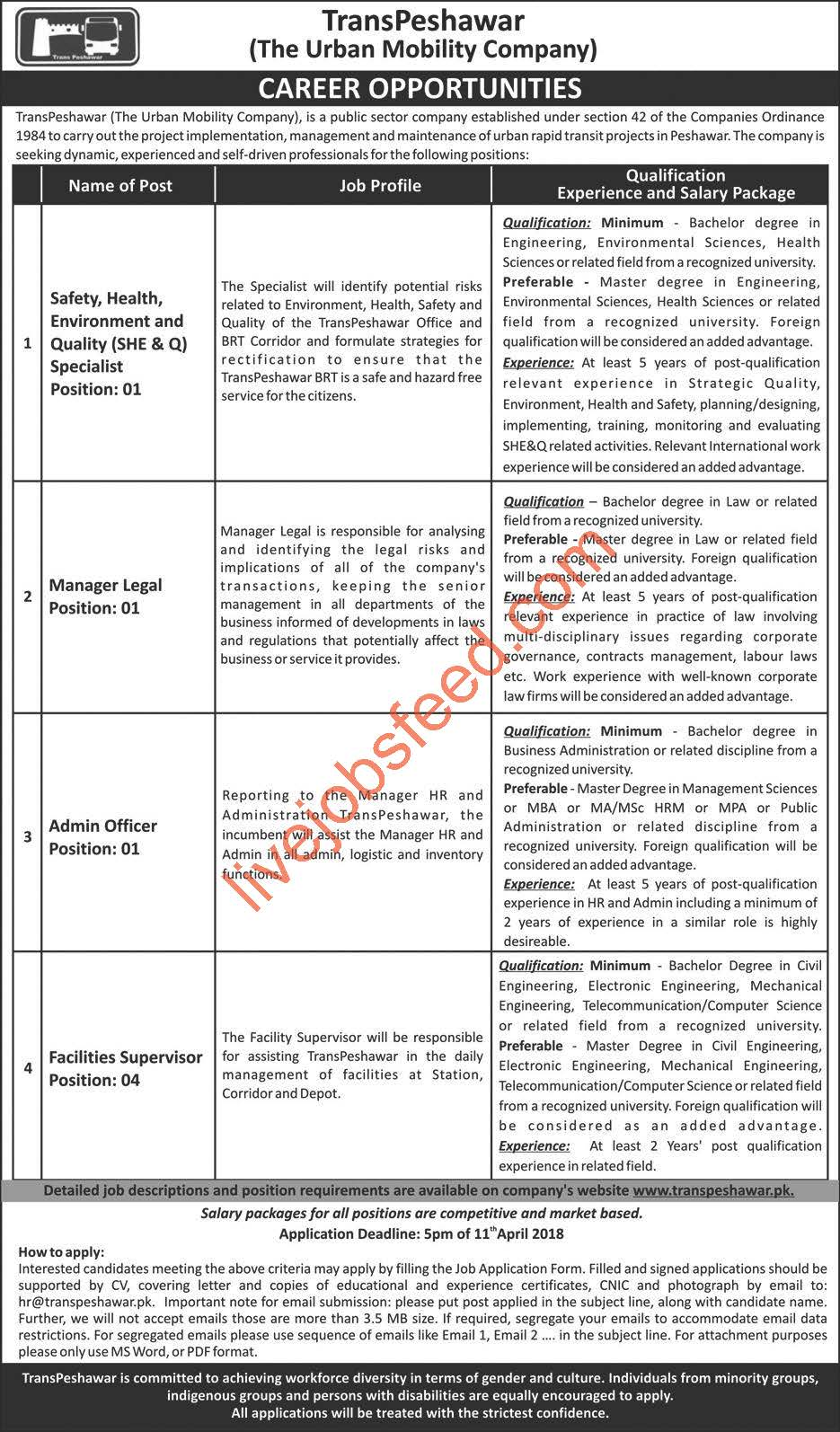 transpeshawar the urban mobility company career opportunity manager legal admin officer qhse specialist financial supervisor apply last date 11 4 2018