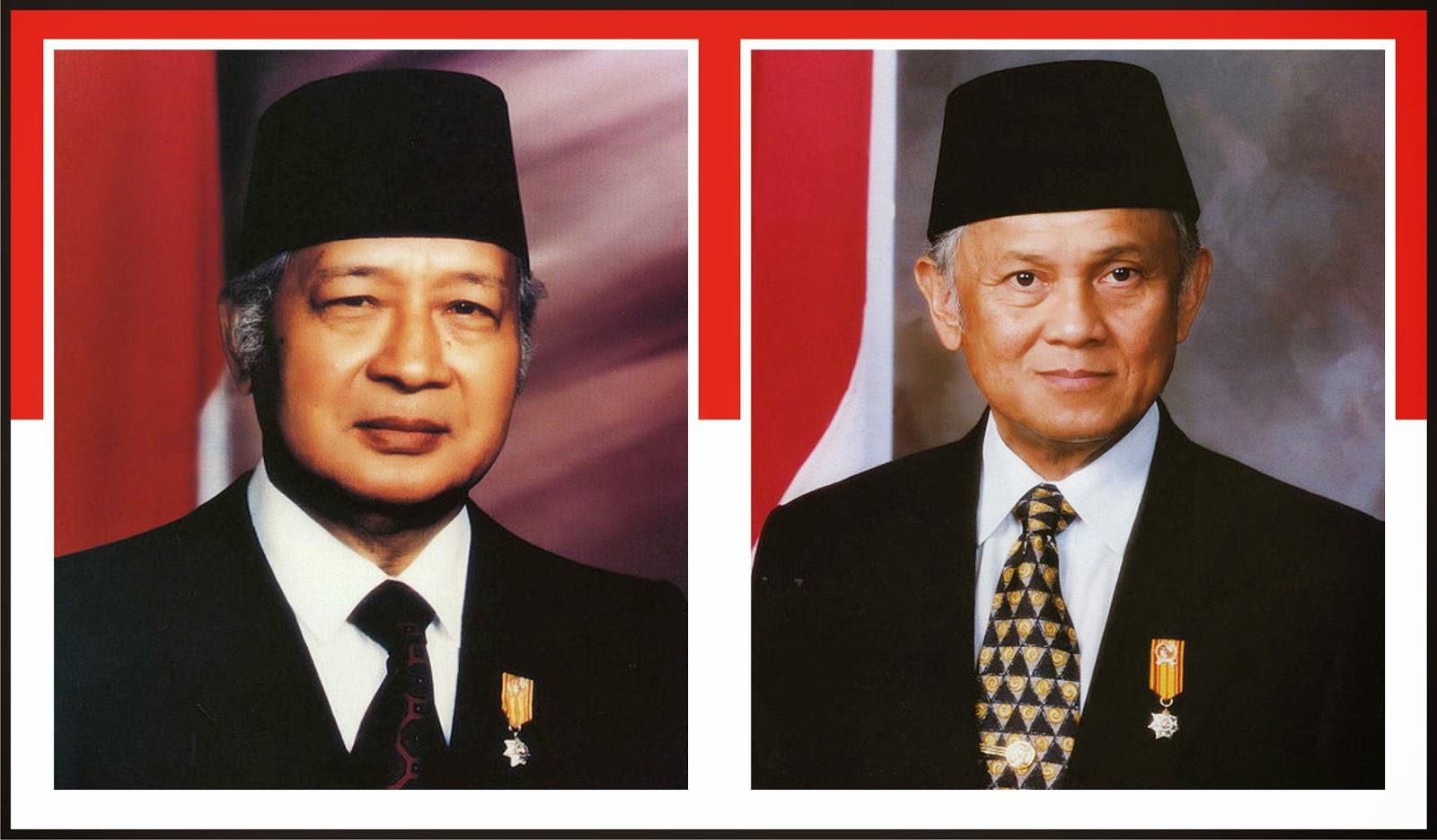 Gambar Presiden Soeharto dan Bacharuddin Jusuf Habibie