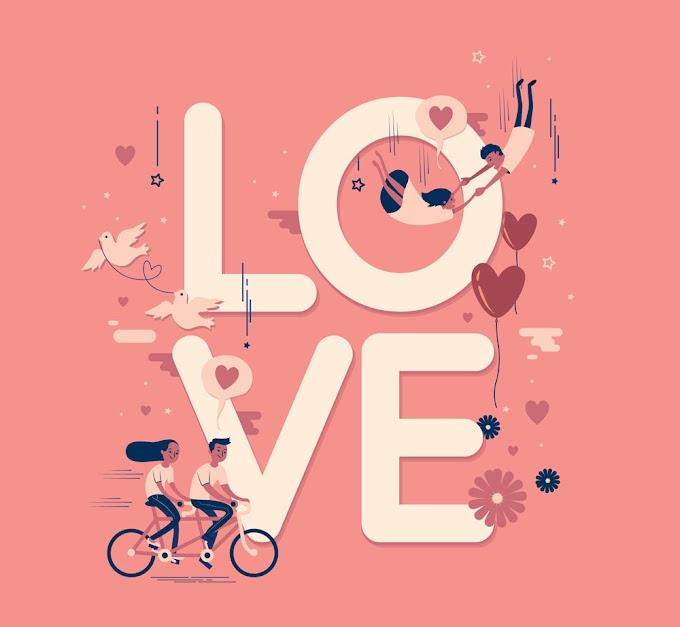 Creative Couple Decorating Love Word Art free Vector