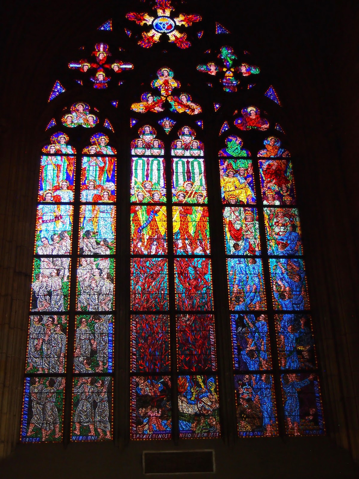 Stained glass windows at St Vitus Cathedral in Prague