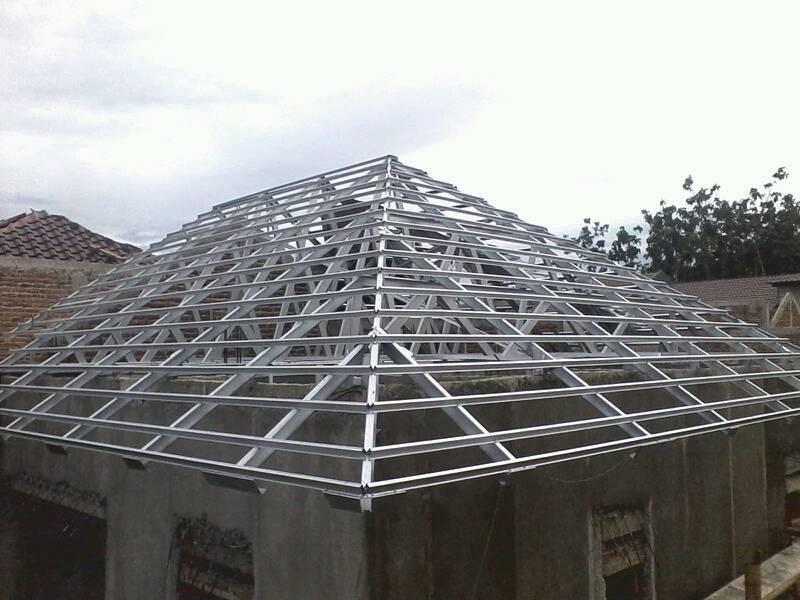 gambar rangka atap baja ringan limasan model limas kitchen ideas