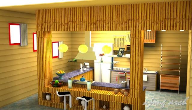Desain Cafe Bambu Minimalis Modern