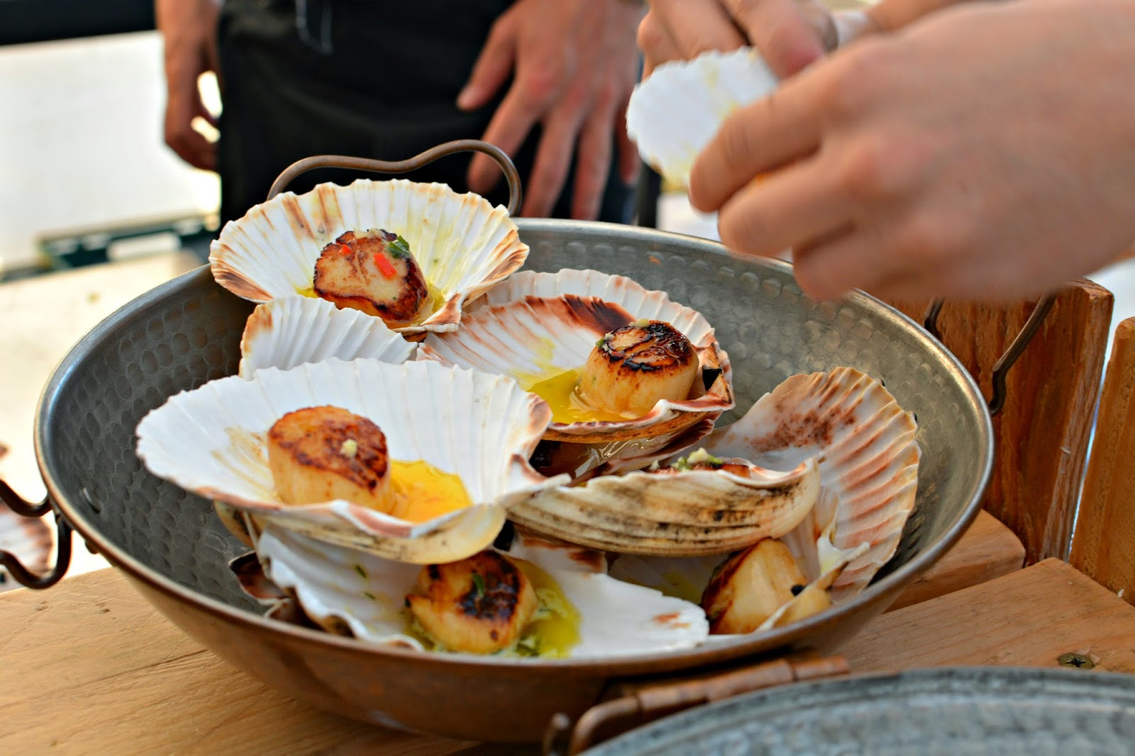 Scallops at Hell Bay Hotel Crab Shack on Bryher Isles of Scilly