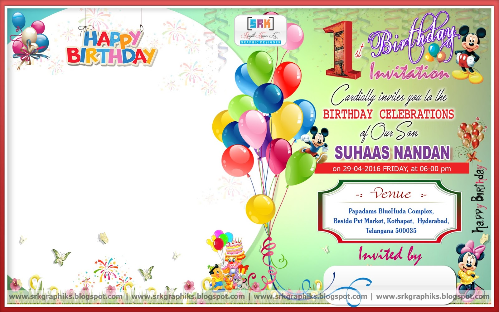 PSD Birthday Invitation Card SRK GRAPHICS - Happy birthday invitation card design