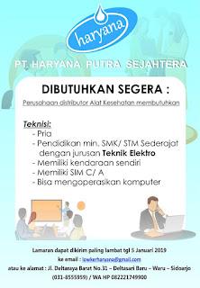 lowongan kerja TEKNISI Haryana Putra Sejahtera Surabaya