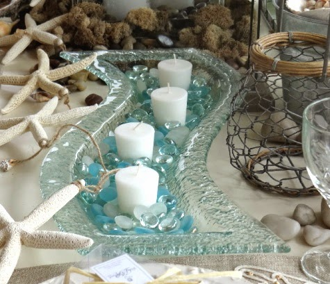 Wave Glass Tray with Candles