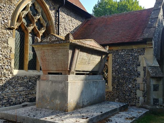 Photograph of The Grade II listed Kemble tomb at St Mary's Church, North Mymms - August 2018 Image by the North Mymms History Project released under Creative Commons BY-NC-SA 4.0