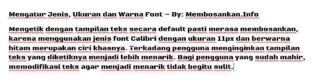 hasil dari penerapan jenis font yang telah dipilih