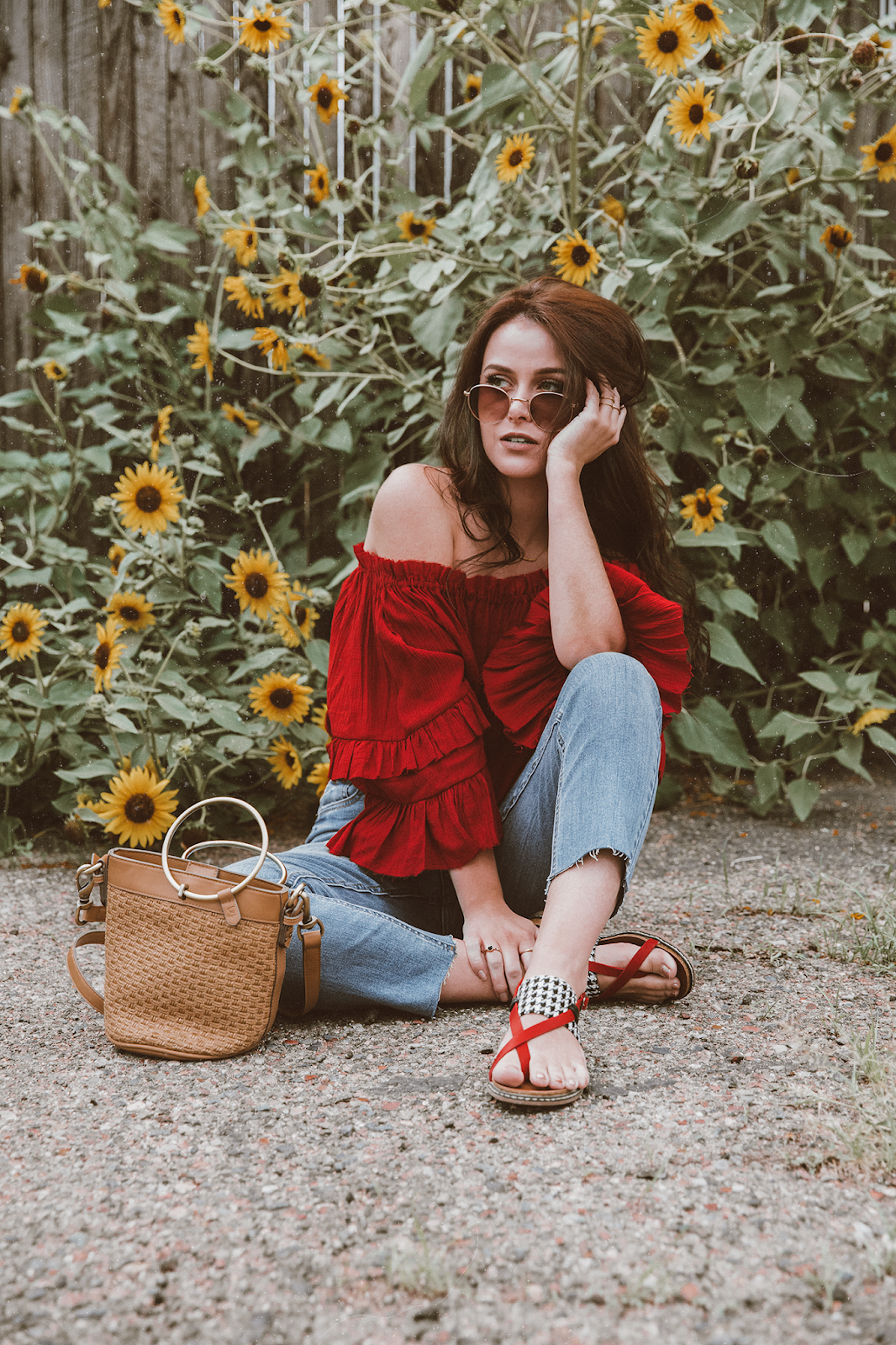 shelly stuckman, ArizonaGirl.com, how to style bohemian, fashion blogger, sunflowers, Corkys Footwear, Elle & Jae Gypset, Sans Souci Stores, STS Blue, off the shoulder blouse