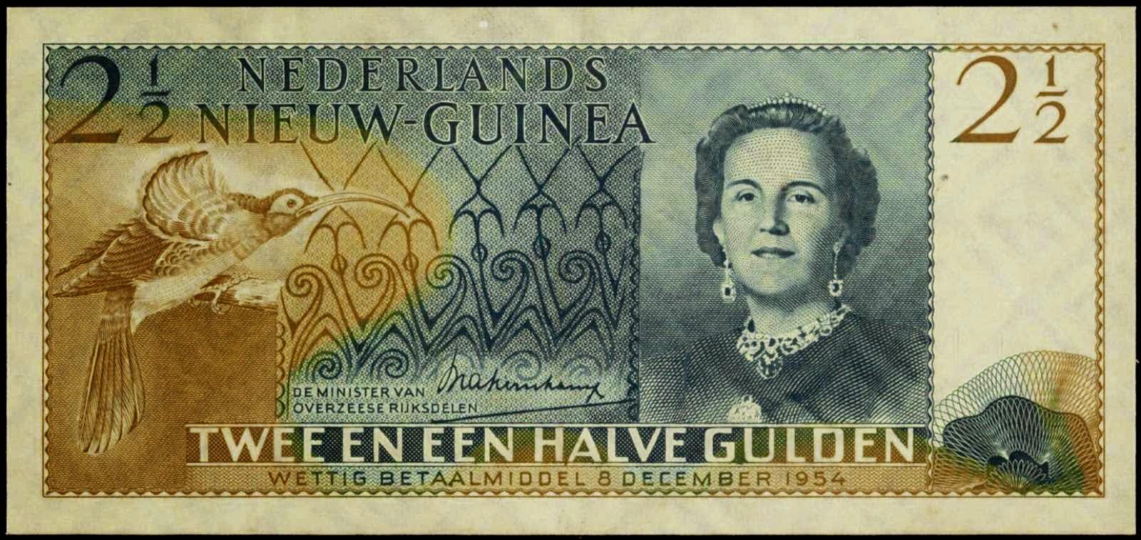Netherlands New Guinea banknotes 2 1/2 Gulden bank note 1954 Queen Juliana