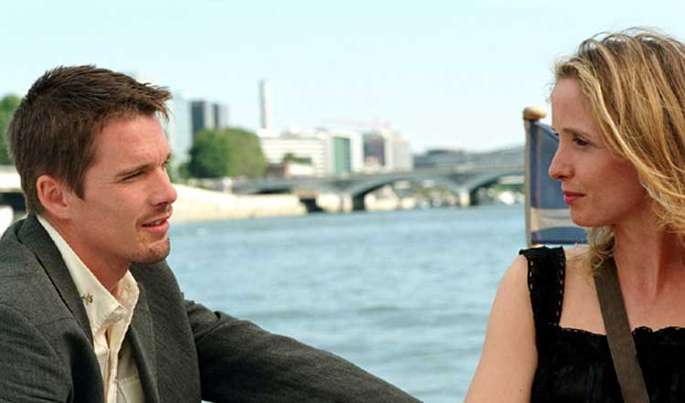Jesse (Ethan Hawke) and Celine (Julie Delpy) reunite in Before Sunset.