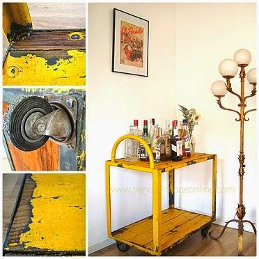 Muebles industriales antiguos estilo vintage en valencia. Carros industriales y camareras doradas