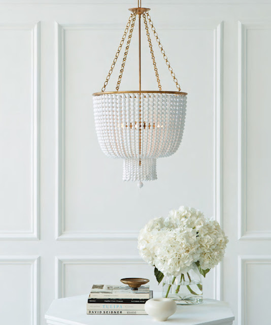Interior Design : Jacqueline Chandelier with White Glass Beads, Antique Brass on Cool Chic Style Fashion