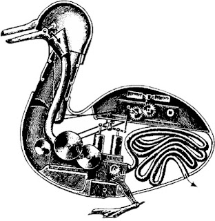 illustration of a mechanical duck that could waddle, eat and poop